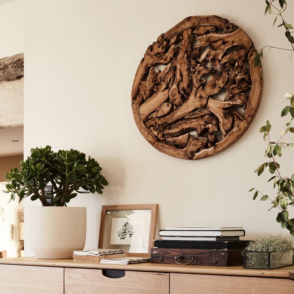 Décoration murale ronde en bois massif - naturel D70cm-LURENZU