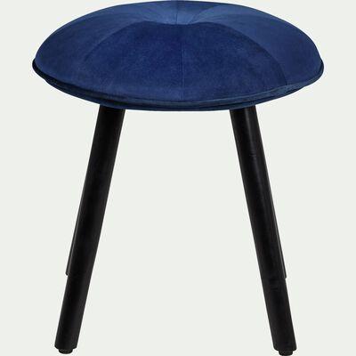 Tabouret en velours bleu myrte - H45cm-AUGUSTIN