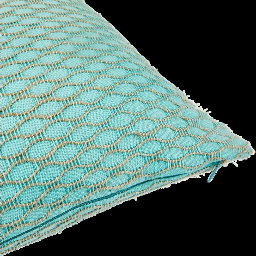Coussin en coton bleu turquoise 45x45cm-JAFAR