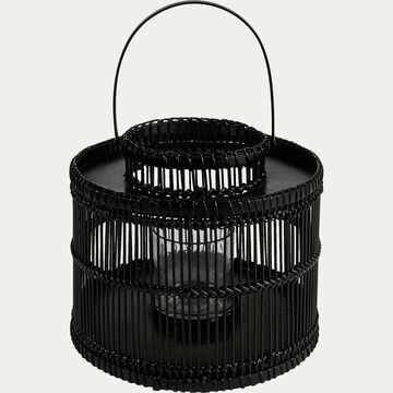 Lanterne en rotin noir D24xH43cm-PHILEMON
