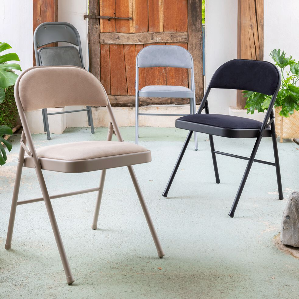Chaise pliante en métal et tissu - beige roucas-CASTA