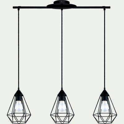 Suspension géométrique à 3 lumières en acier noir L79cm-TARBES