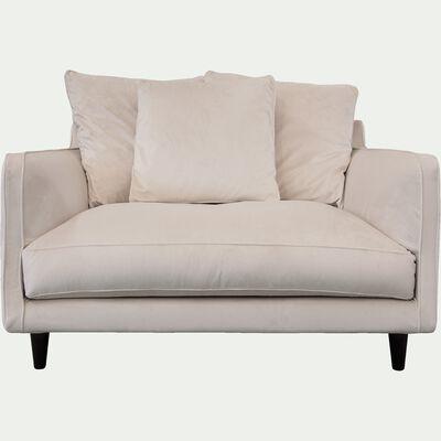 Canapé fixe 1,5 place en velours beige roucas-LENITA