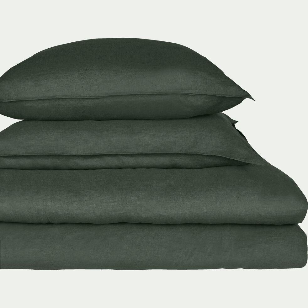 Lot de 2 taies d'oreiller en lin - vert cèdre 65x65cm-VENCE