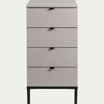 Chiffonnier gris en bois à 4 tiroirs-CASTEL