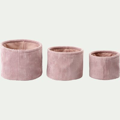 Lot de 3 paniers ronds en velours côtelé - rose-Vela