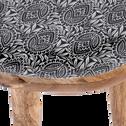 Bout de canapé en manguier avec plateau motif amande-SOULA
