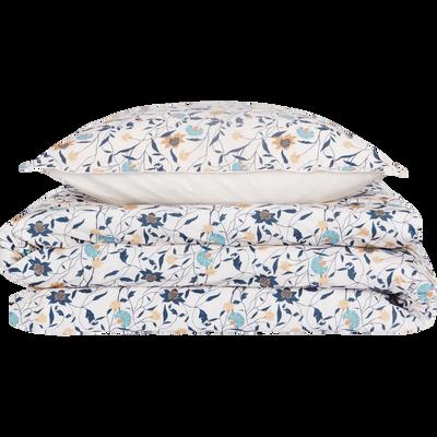 Parure de lit en percale de coton motifs œillets - 240x220 + 63x63 cm-FATINA