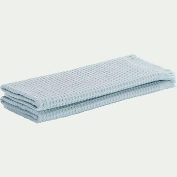 Lot de deux serviettes invité en coton nid d'abeille - bleu 30x50cm-Ricin