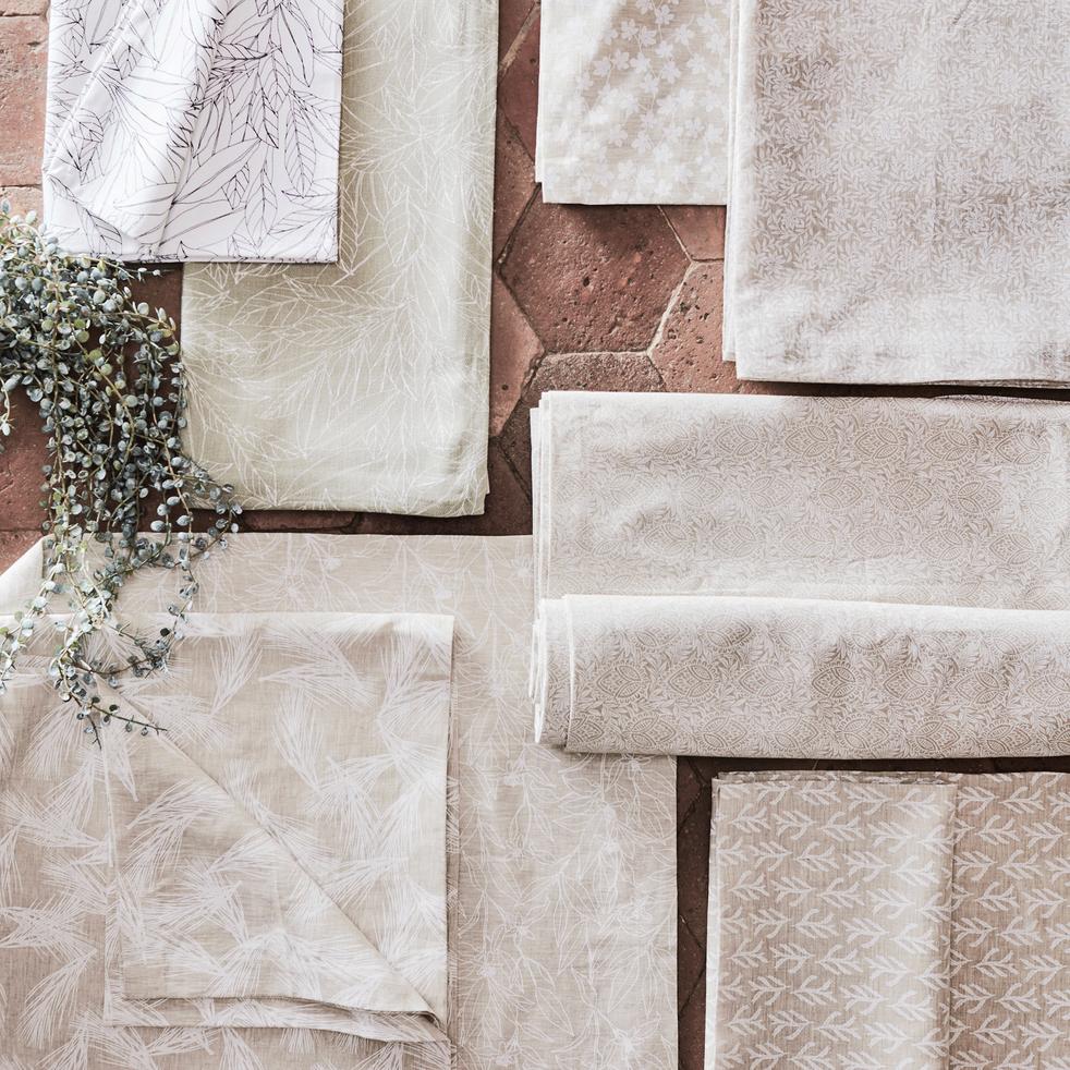 Nappe en lin et coton coloris naturel motifs amande 170X250cm-ST REMY