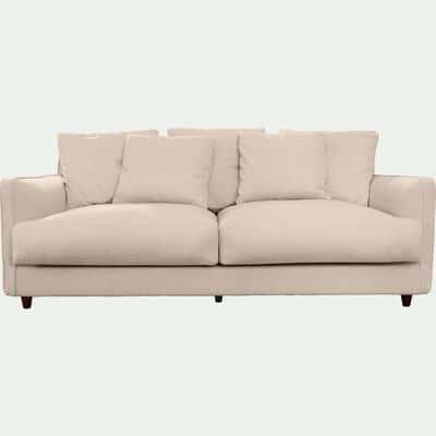 Canapé 3 places fixe en tissu beige roucas-LENITA