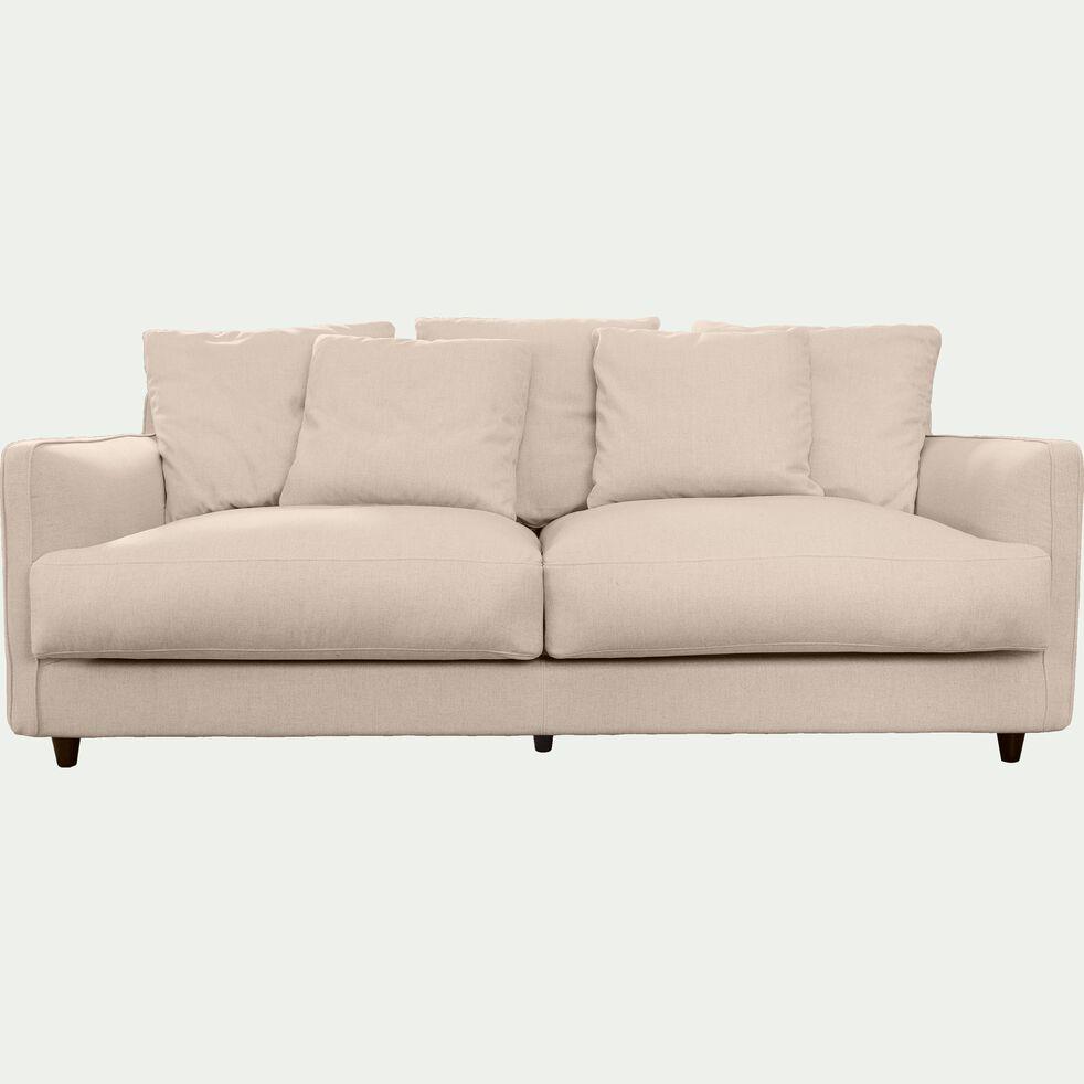 Canapé 3 places fixe en tissu - beige roucas-LENITA
