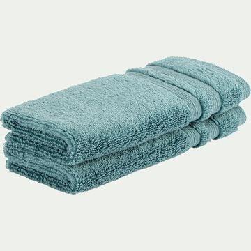 Lot de 2 serviettes invité bouclette en coton - vert 30x50cm-Noun