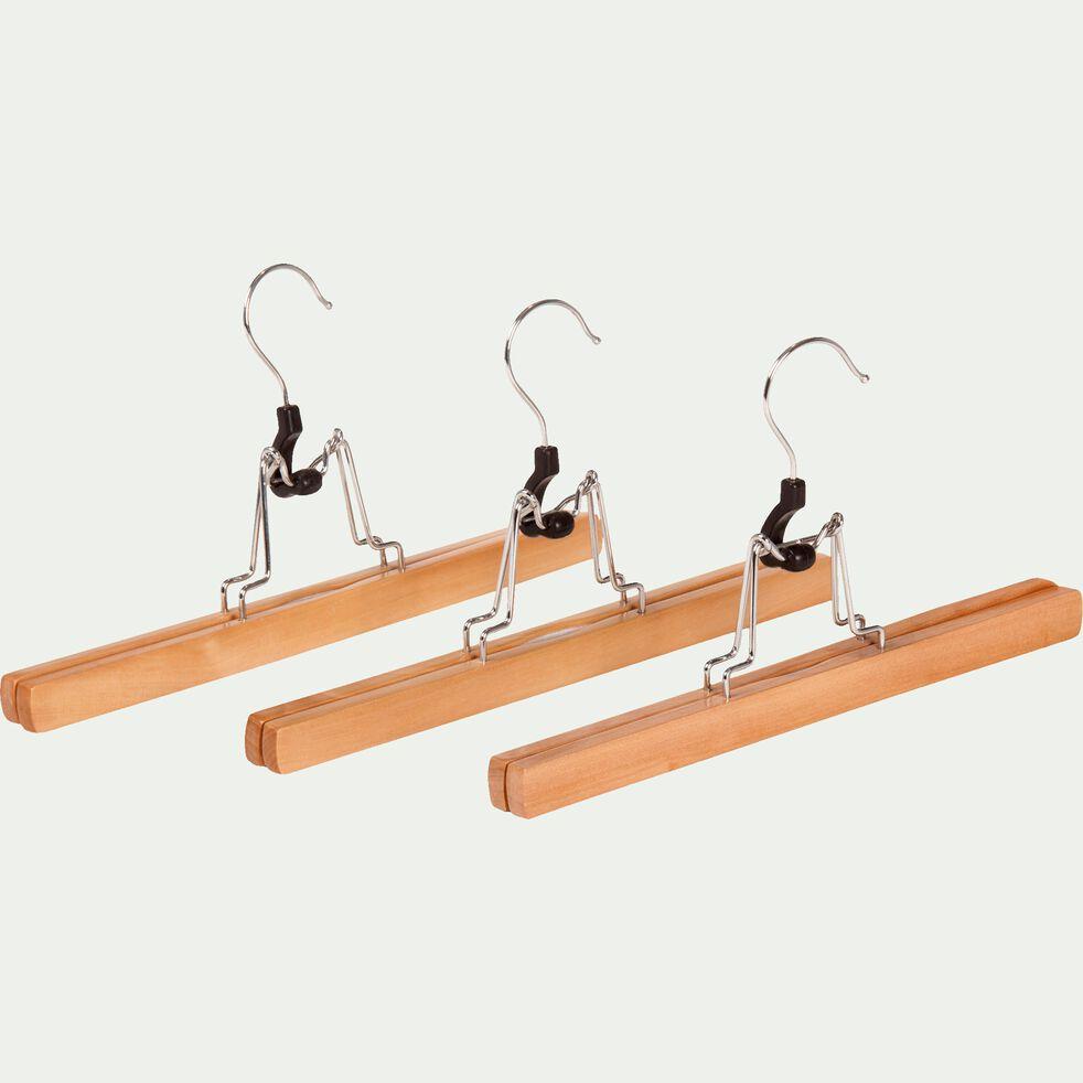 Lot de 3 cintres pour pantalons en bois-Hangy