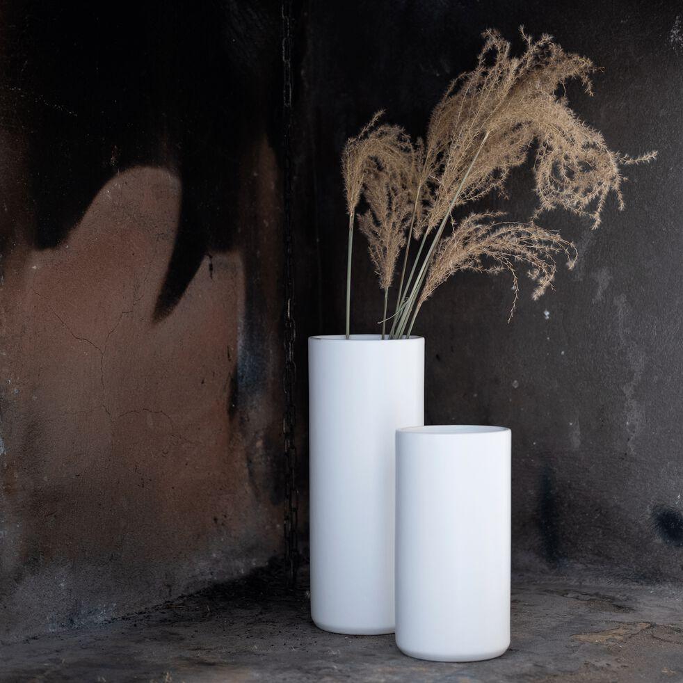 Vase en céramique blanc ventoux D12xH30cm-MARRA