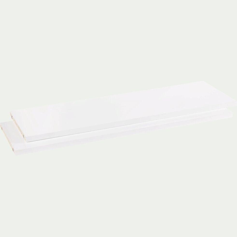 Lot de 2 tablettes en bois - blanc L75cm-Biala
