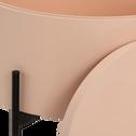 Bout de canapé sable rosé avec coffre de rangement-DOUFINO