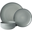 Assiette à dessert en faïence gris restanque D20cm-LANKA