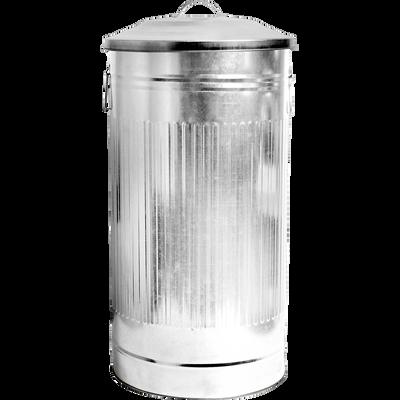 Poubelle à couvercle plaquée zinc 46L-MAX