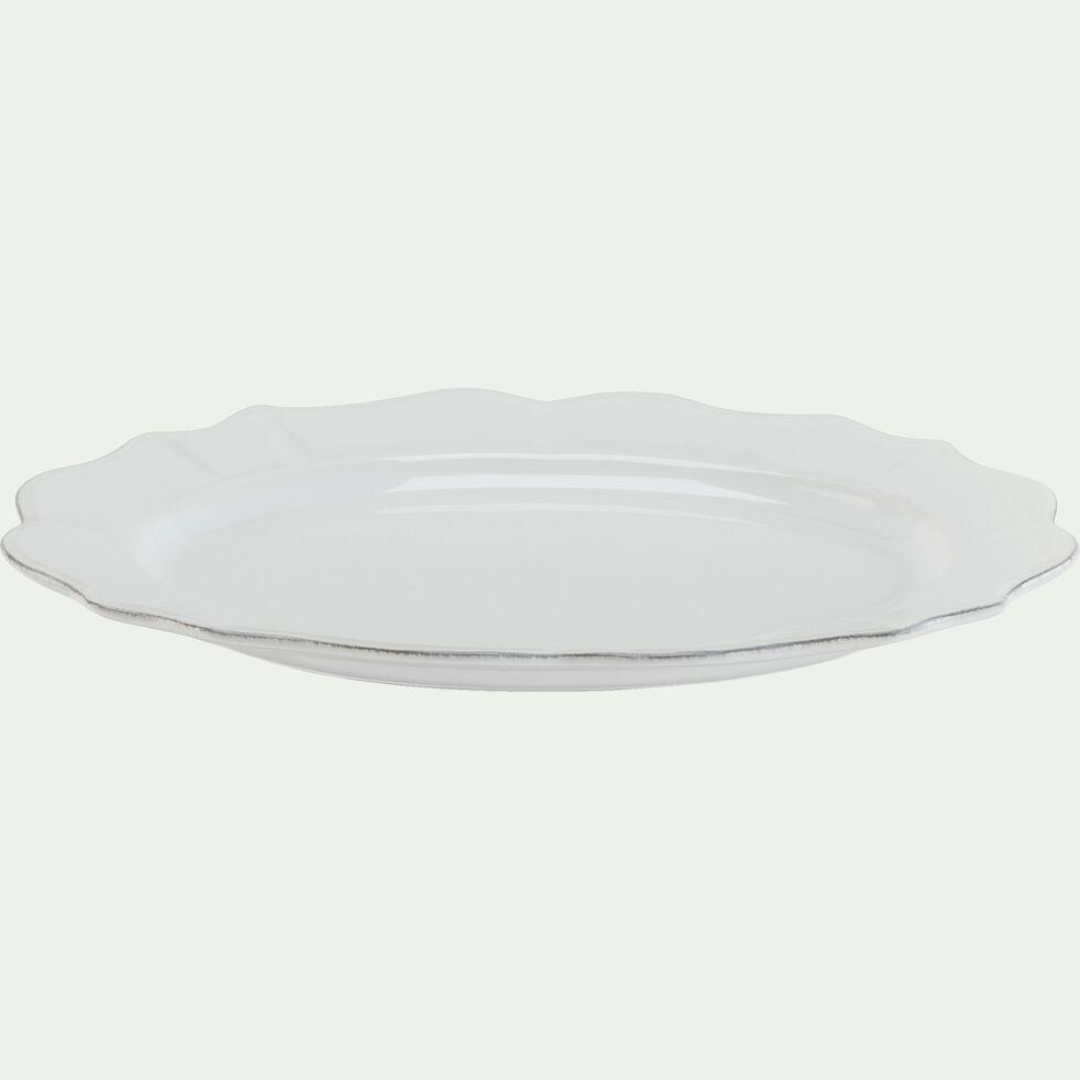 Assiette de présentation en faïence ovale L32xl24cm - blanc-LISE