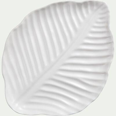 Plateau feuille en grès - blanc ventoux L23,5cm-ABRA