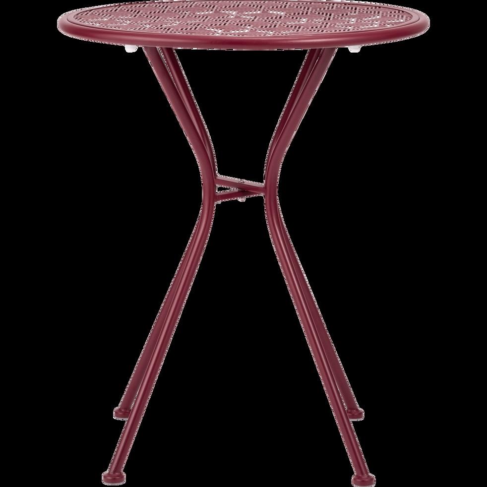 LINO - Table de jardin ronde en acier rouge sumac (2 places)