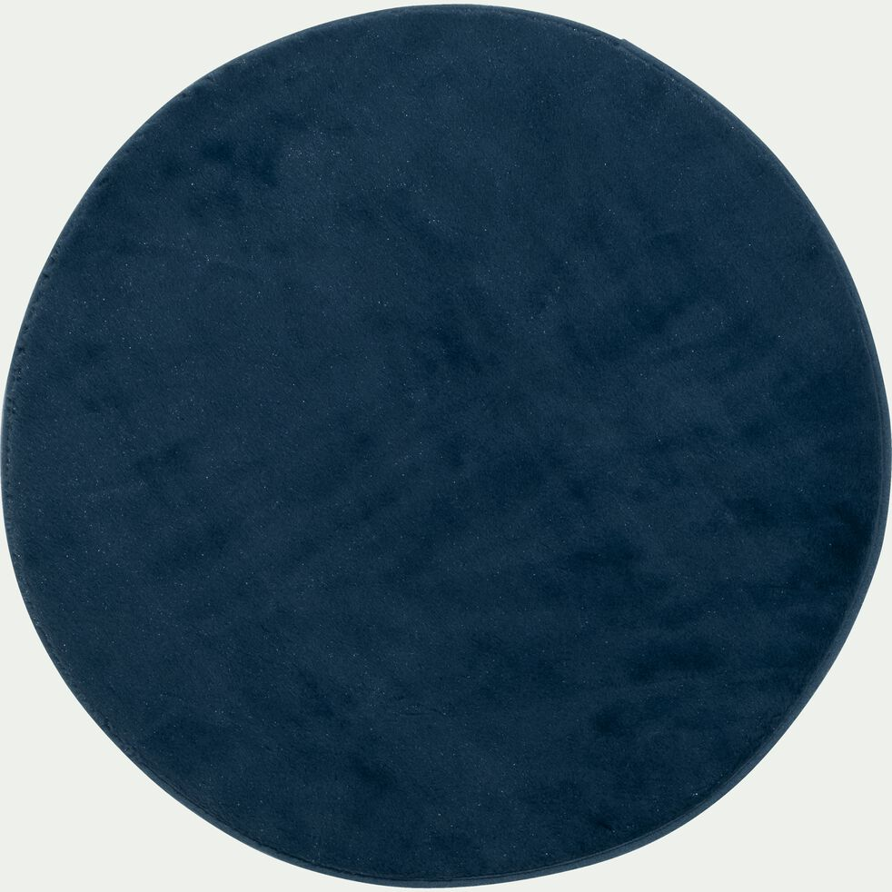 Tapis rond imitation fourrure - bleu figuerolles D70cm-ROBIN