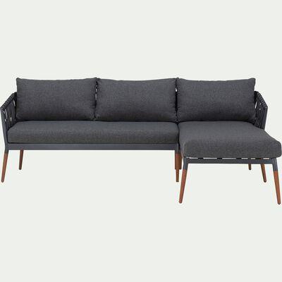 Canapé d'angle de jardin en bois et tissu - gris anthracite-ASTAKOS