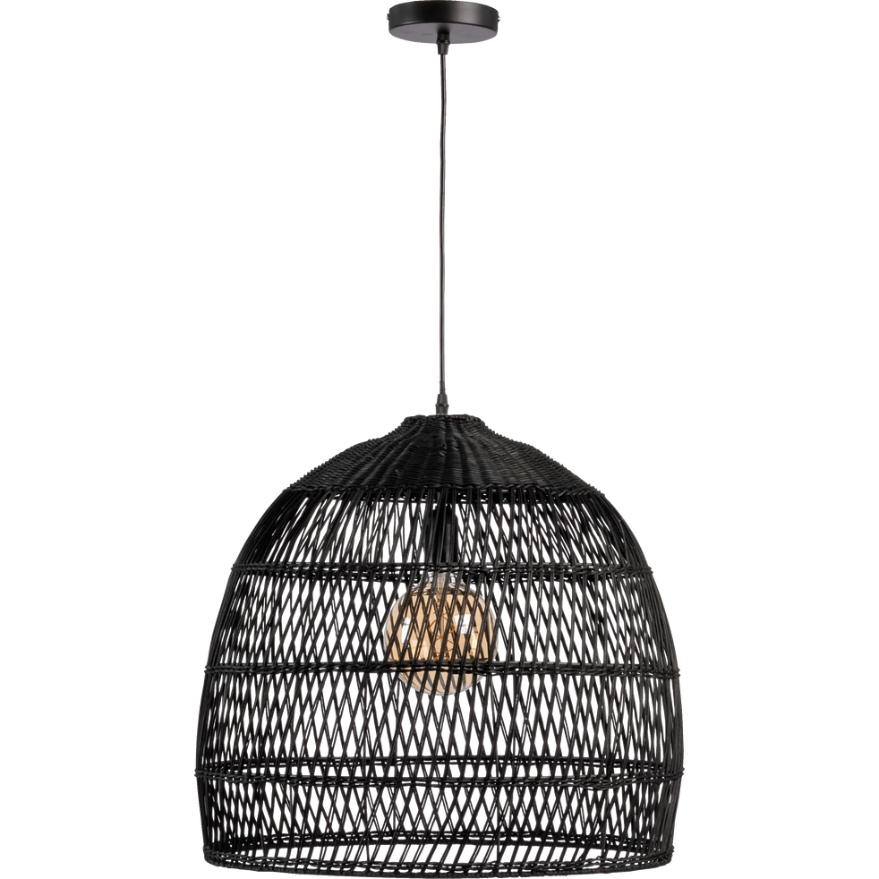suspension en rotin noir d46cm mathilda luminaire alinea. Black Bedroom Furniture Sets. Home Design Ideas