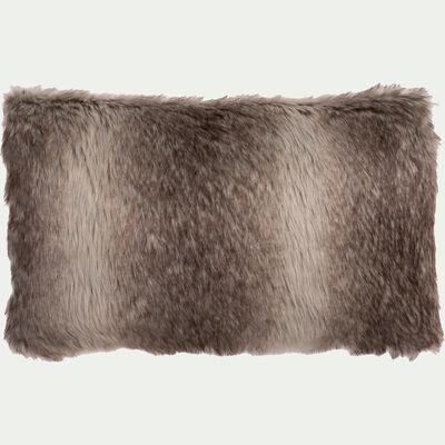 Coussin imitation fourrure en acrylique - marron 30x50cm-LOUP