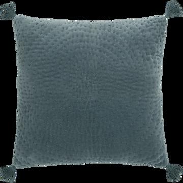 Coussin à motif spirale et pompons en velours bleu 40x40cm-GIANG