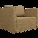 Canapé 1.5 places fixe en lin vert cèdre-VENCE