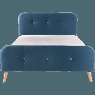 Lit 2 places avec structure et tête de lit en tissu Bleu - Plusieurs tailles-AGNES