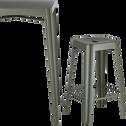 Tabouret de bar en métal vert cèdre - H65cm-TRIVIA