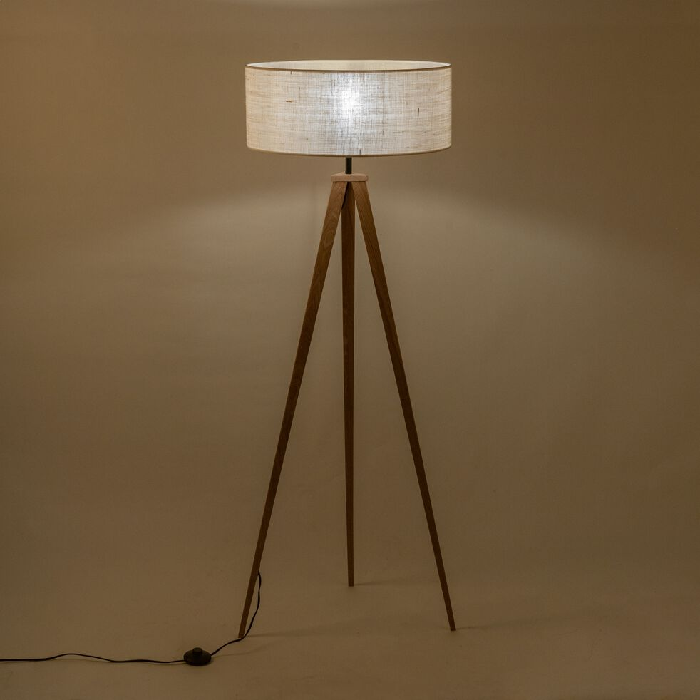 Lampadaire en bois et tissu - blanc écru-TRIX
