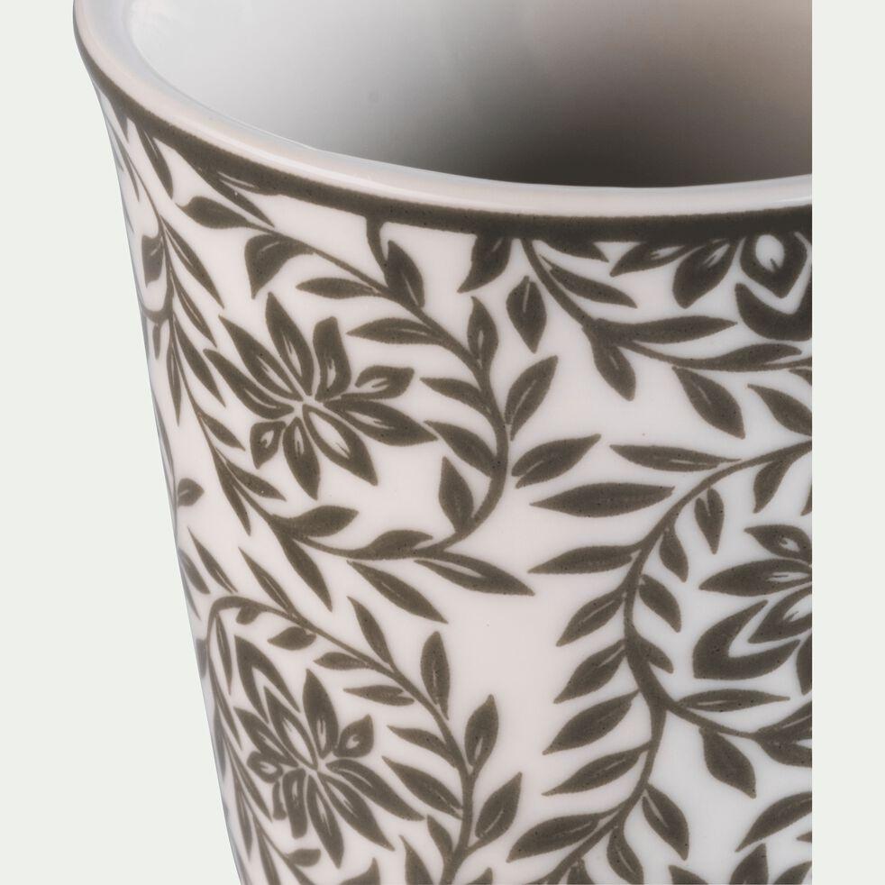 Lot de 6 tasses en porcelaine vert cèdre motif jasmin 9cl-CAMILLE