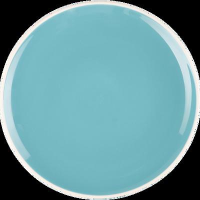 Assiette à dessert en faïence bleu turquoise D20cm-CAMELIA
