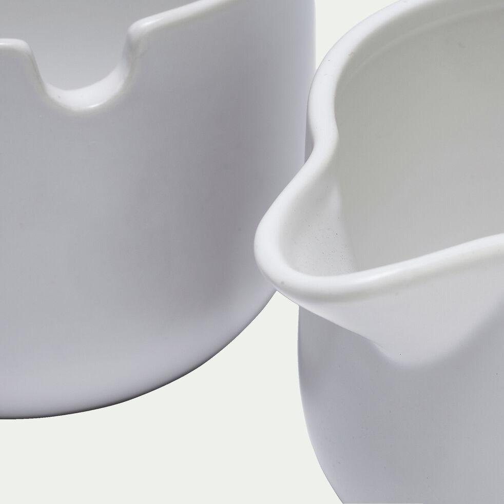 Pot à lait et sucrier en grès blanc-CELTON