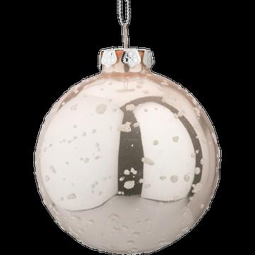 Boule de Noël en verre rose D8cm-BEATRIX