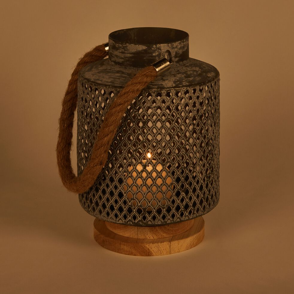 Lanterne en métal perforé H24cm-AMIC