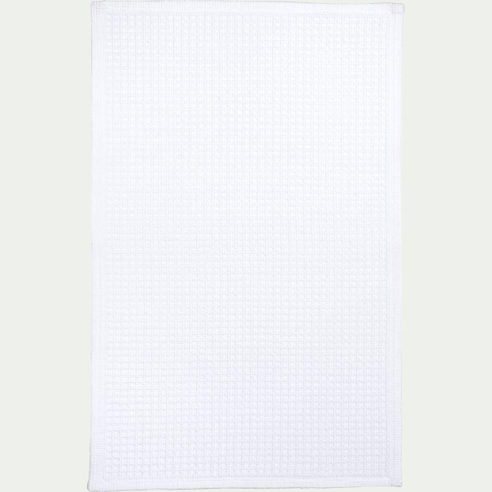 Tapis de bain tissé plat en coton - blanc capelan 50x70cm-ESCAPADE