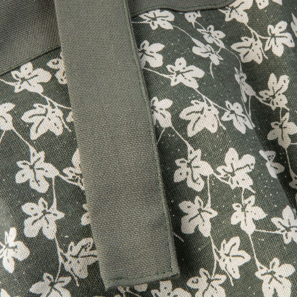 Tablier à motifs figuier en coton vert-FIGUIER