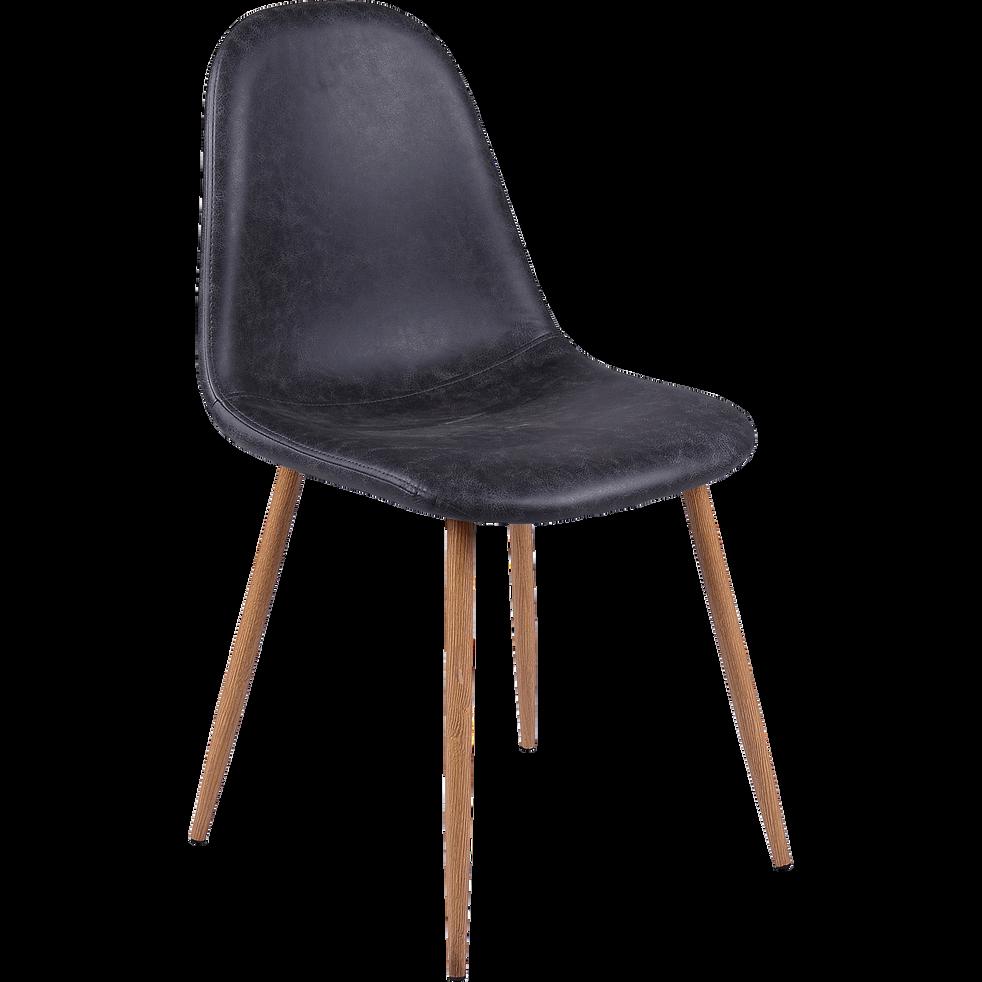 Chaise vintage en simili noir-CHARLIE
