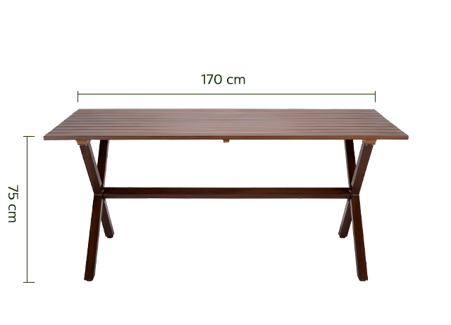 Table de jardin en aluminium effet bois (4 à 6 places)-NATAL