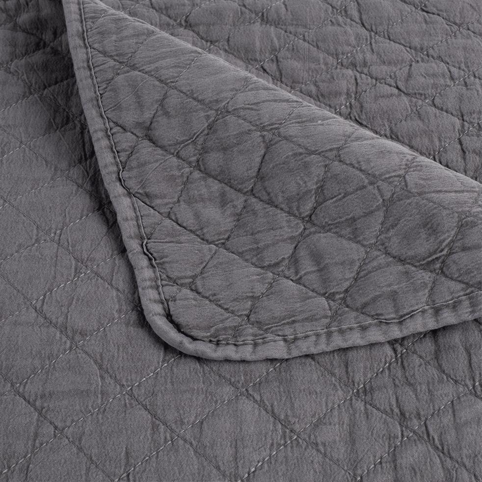 Jeté de lit effet lavé gris restanque 180x230cm-THYM