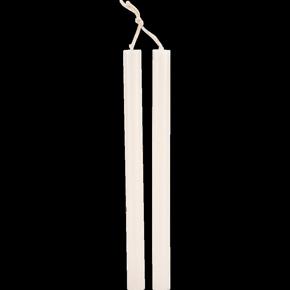 Bougie duo de flambeau beige roucas H30cm-BEJAIA