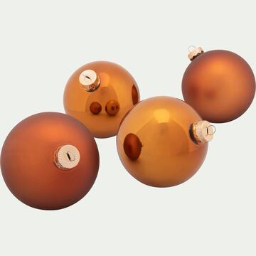 4 boules en verre cuivré D10cm-NANS