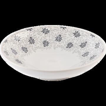 Assiette creuse en grès décoré gris borie D19cm-JASMIN