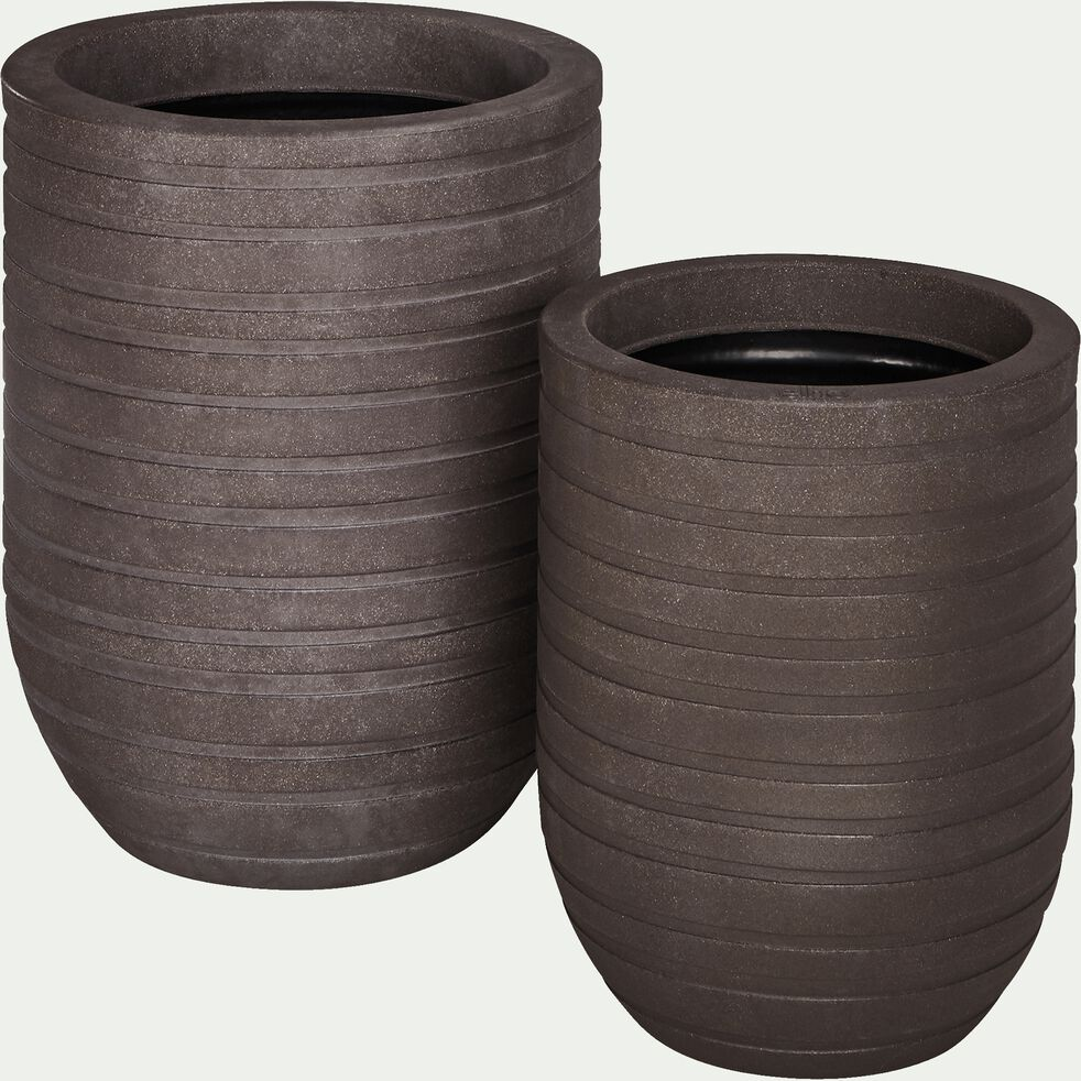 Cache-pot marron en plastique H37xD35cm-ALLURE