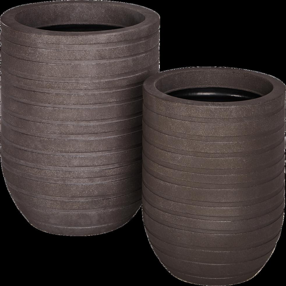 Cache-pot marron en plastique H37xD35cm-ALLURE